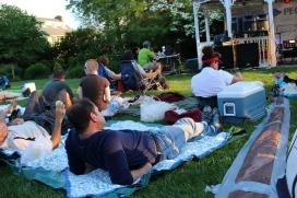 The audience, before twilight set in, at Bryn Mawr Twilight Concerts.