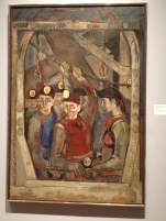 Miners In A Lift, painted by Henry Poor in 1947.