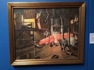 Forging The Shaft: Hydraulic Forging Press, painted by Rose Ann McGary in 1936.