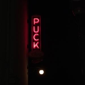 Puck's outstanding neon sign.