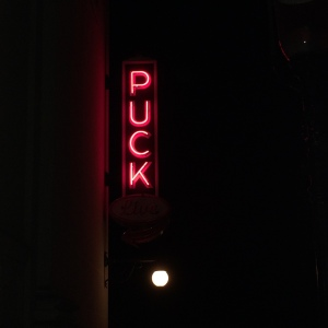 Puck's outstanding neon sign.