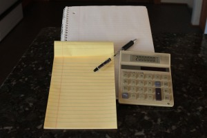 The tools that I used for my daunting calculations.